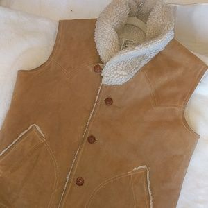 Vintage Vest. Genuine suede, wool lined western